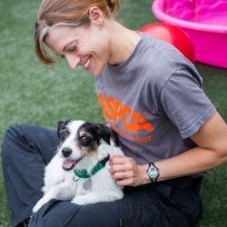 woman in aspca branded tee sitting with white dog in lap