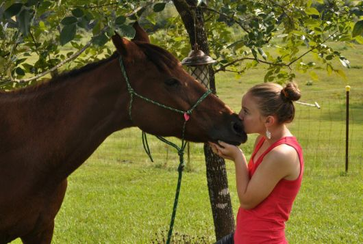 woman in pink top kisses horse on nose