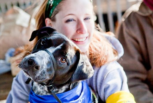 woman holds dog wearing a blue bandana outdoors smiling