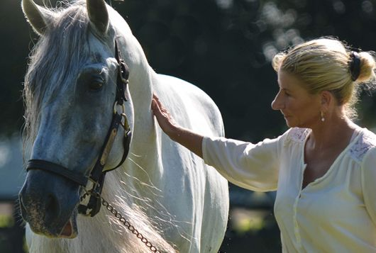 yvonne with white and gray horse