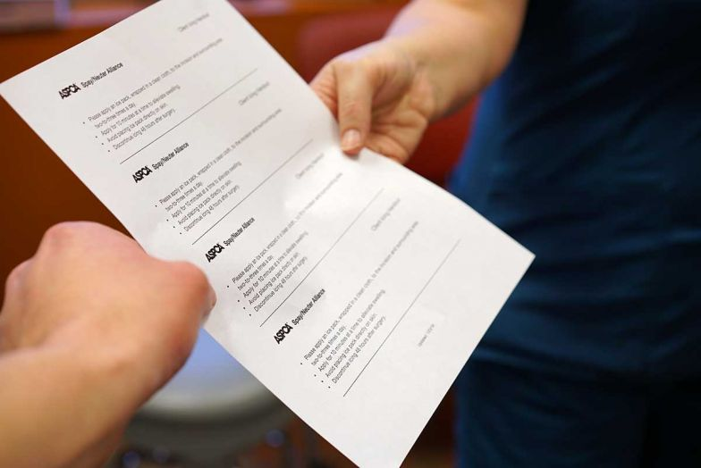 one hand passing a document into the hands of a client